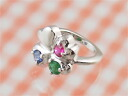 1-Year-old man: three gems to choose from four leaf clover-baby ring K18 White Gold 1-year-old woman