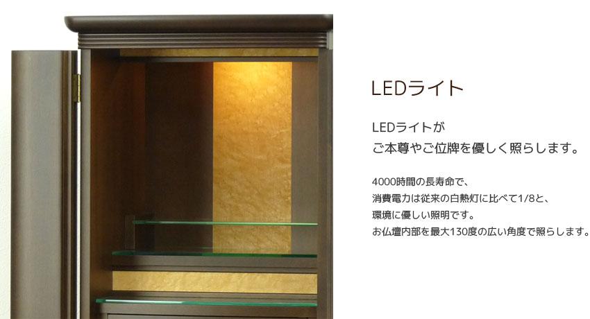 LEDライト LEDライトがご本尊やご位牌を優しく照らします。長寿命で、消費電力は従来の白熱灯に比べて1/8と、環境に優しい照明です。お仏壇内部を最大130度の広い角度で照らします。