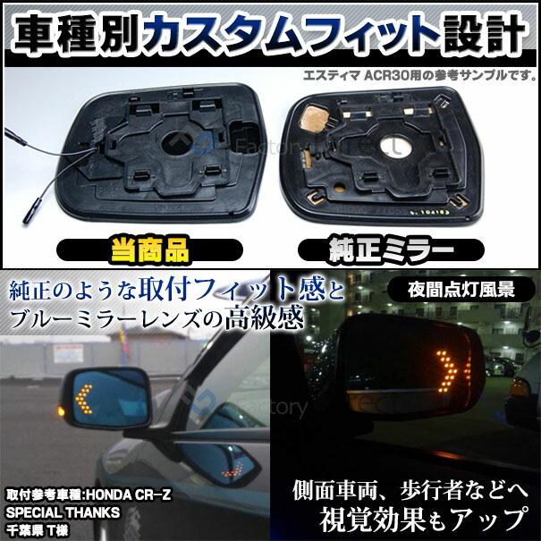 LEDウインカーバックミラーサイドミラーブルーレンズ仕様純正交換