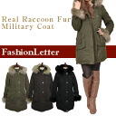 Outer coat outerwear jackets リアルラクーンファーミリタリーコート batting coat down coat down jacket down ladies % sale 50% sale 2013 aw 2013 winter's