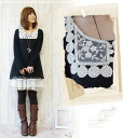 Cute adult girly * monotone contrast lace dress black and white lace neckline one piece SSpopular03mar13_ladiesfashion fs3gm