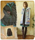 A line one piece of gauze material check layered skirt spread 13 check pattern one piece forest ガールフレア fall-winter forest girl * hood removable ( F8365 ) fs3gm