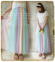 Appended as Maxi ensemble Rainbow pastel ice flowing melody *! ガーリーレーストップス アンサンブルマキシ-length one-piece * fs3gm
