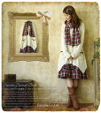 With the spring one piece *Favorite original * muffler is layered flare knit one piece of the ♪ checked pattern tiered skirt * warmth or *2 fold of knit gauze gently
