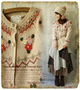 Knit Cardigan natural natural is I the flower garden ° +... decorated lovely embroidered knit Cardigan *