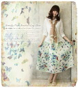 Maxiskirt length chiffon skirt * of the ゜ +. butterfly print which a colorful butterfly flies about to maxiskirt chiffon flared skirt natural chiffon