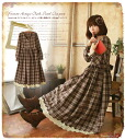 Check Pearl Tweed dress long Autumn antique fragrance of autumn bring me one. * ° check Tweed decorated with antique silhouetted long one piece * °