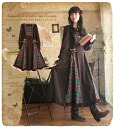 One piece ladies one piece long * Favorite original * like Parisienne antique doll ° +... check and ruffle lace up long long length dress.