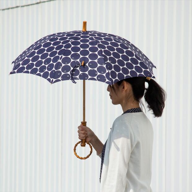 日傘 SUR MER/シュールメール すかし水玉 コットン 竹輪っか 長傘 折りたたみ傘 日本製
