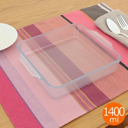 セラベイク スクエアロースター M 1400ml 耐熱ガラス グラタン皿 セラミックコーティング ADERIA/アデリア