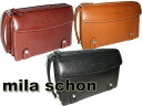 Taking a million cash on delivery fee free mila schon, with ポーチセカンド bag business leather black Choco camel