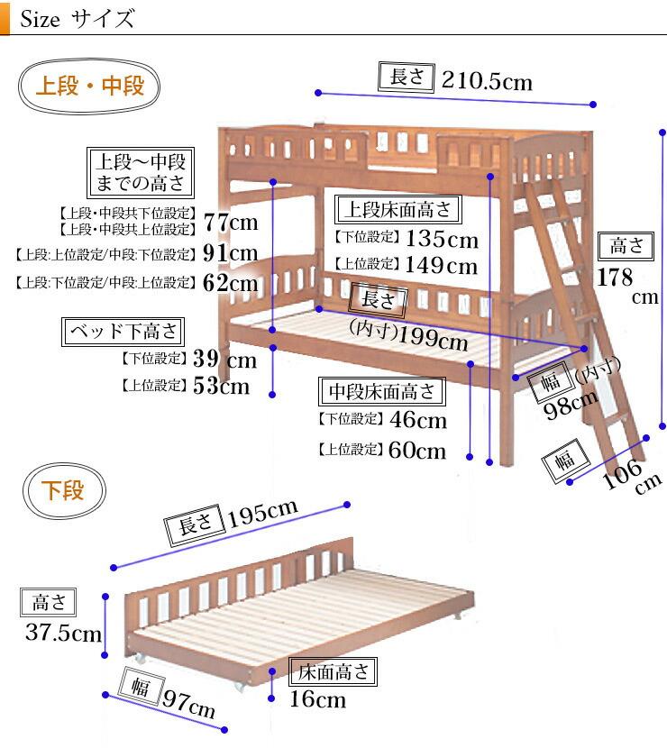 オルト3段ベッドサイズ