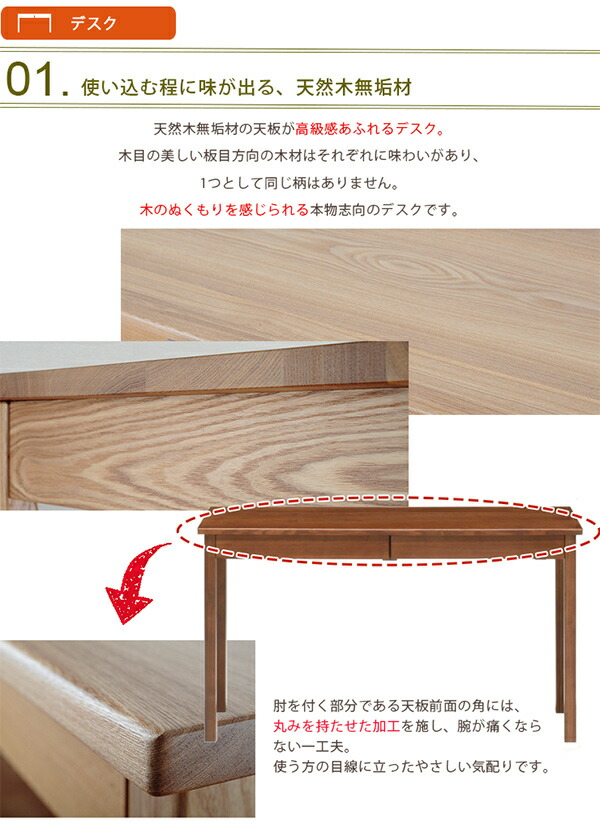 天然木ロフトベッド デスクセット