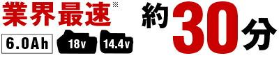 業界最速、6.0Ah(14.4V,18V)充電約30分