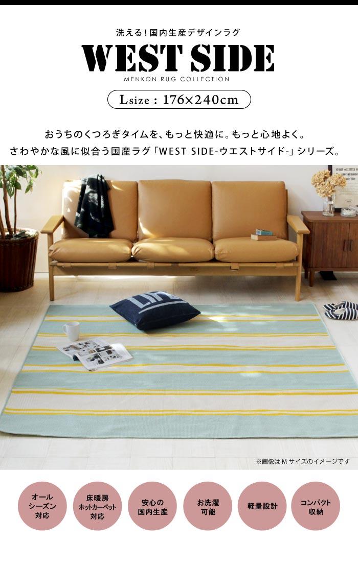 洗える!日本製!軽量設計!便利で安心のデザインラグ♪ 綿混ラグ ヴィンテージ