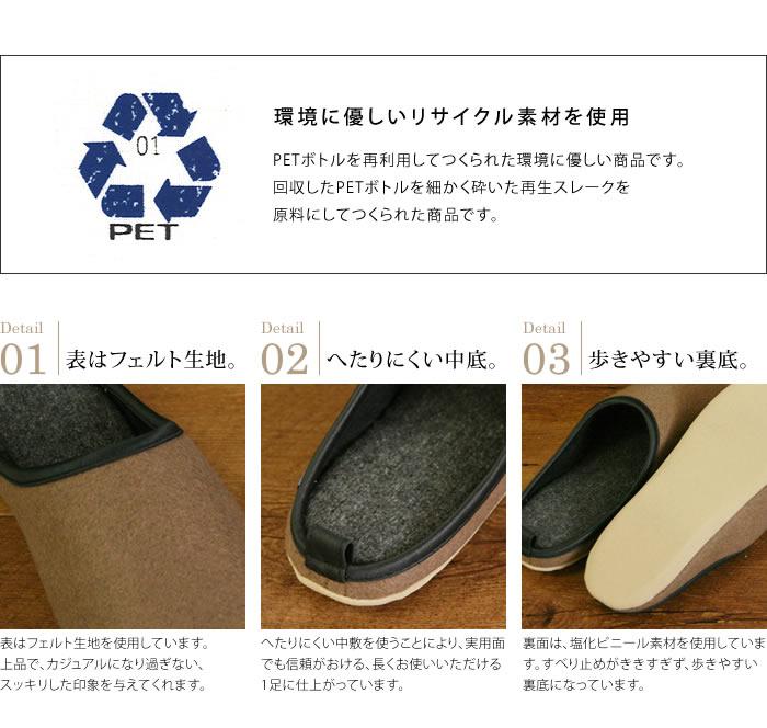 PETボトルを再利用してつくられた環境に優しい商品です。回収したPETボトルを細かく砕いた再生スレークを原料にしてつくられた商品です。