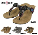 Minnetonka Uptown tongs MINNETONKA UPTOWN THONG 71100 BLACK/TAN/PEWTER/BROWN