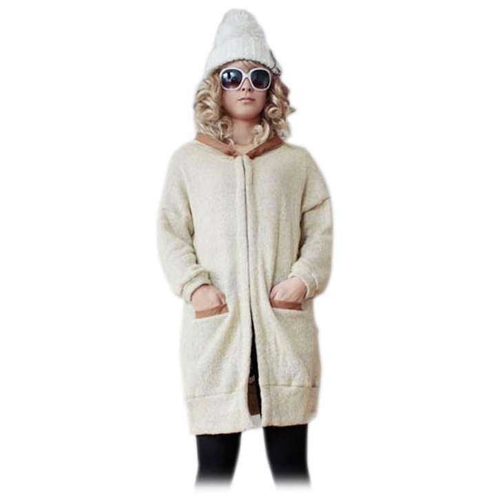 冬物セール フード付 合成皮革 ざっくり ロングニットカーディガン◎ベージュ