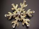 Swarovski stone broach, snowy crystal gold