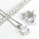 상품 코디 세트 목걸이 및 테니스 팔찌 및 귀걸이 CZ 다이아몬드 (큐빅 산화 지르코늄) | 쥬얼리 선물 선물 생일 결혼 기념일