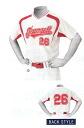 ZETT 야구 셔츠 「 야구 V 넥 티셔츠에 직접 인쇄 FDP26 」 전체 유 방, 유 방 번호, 번호 있음