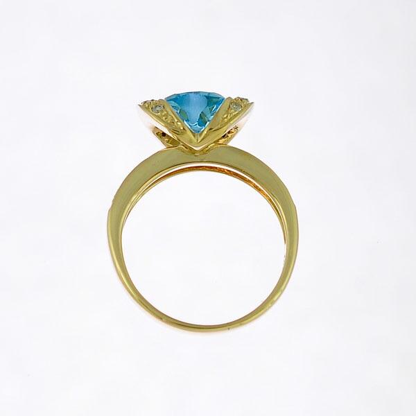 K18イエローゴールド/ブルートパーズ/ダイヤモンド/リング/ハート ジュエリー レディース サイズ:9号