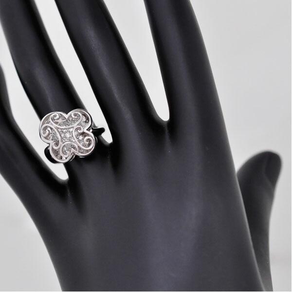 リング/K18ホワイトゴールド/ダイヤモンド/クローバー K18WG 指輪 サイズ:11.5号 ジュエリー レディース
