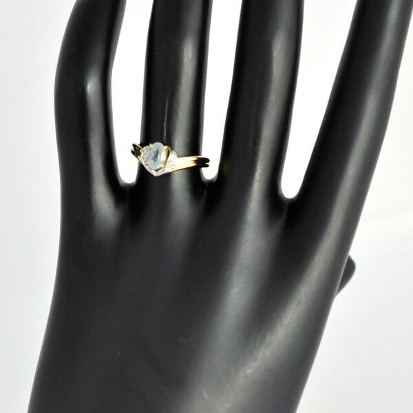 K18YG Pt900 アクアマリン ダイヤモンド リング
