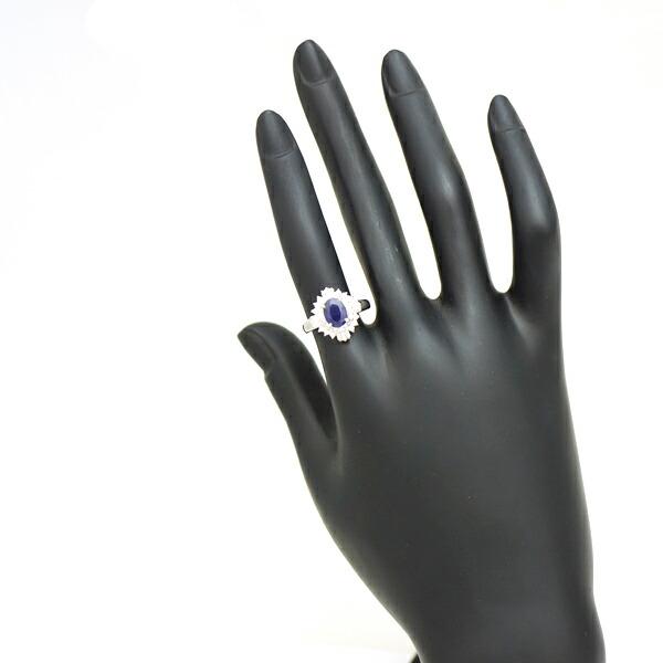 Pt900 サファイア ダイヤモンド 指輪