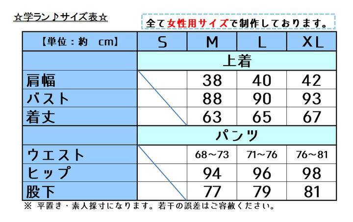 学ラン サイズ表