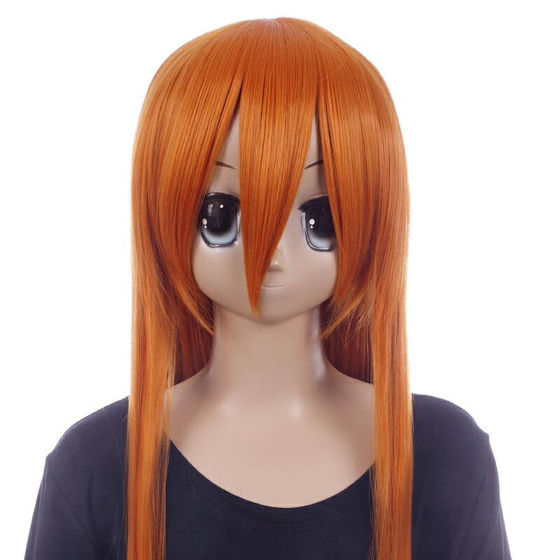 富士達オリジナル・ロングウィッグ オレンジ 茶色 コハク