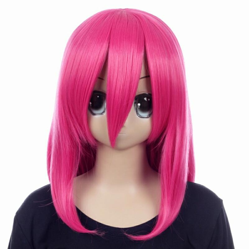 富士達オリジナル・ミディアムウィッグ ピンク フクシア