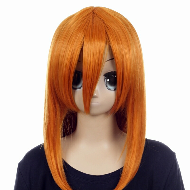 富士達オリジナル・ミディアムウィッグ オレンジ 茶色 コハク