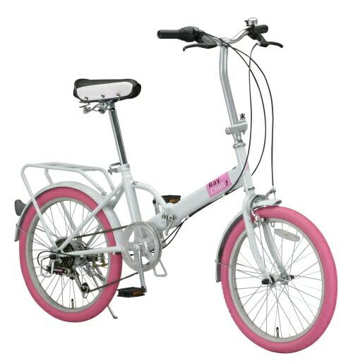 ... 折畳み自転車にピンクタイヤ