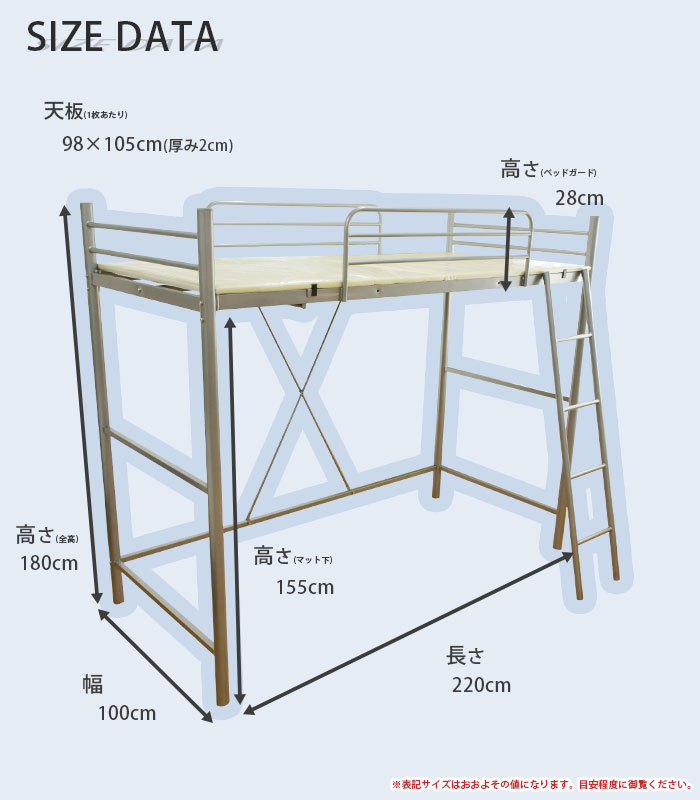 KODAWARI ANMINKAN  라쿠텐 일본: 파이프 로프트 침대 싱글 W100×D220 ...