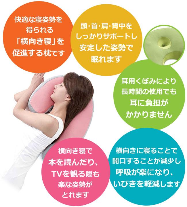 横向き寝を促進する・耳に負担がかからない・いびき軽減