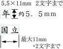 1 Line mark 5.5 mm x 11 mm