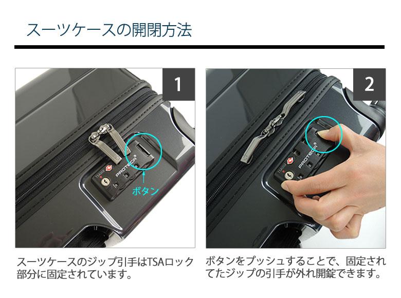 スーツケース開閉方法