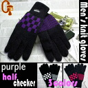 Men's knitted wear gloves thinsulate ハーフチェッカー pattern purple fs2gm