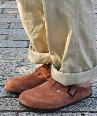 birkenstock boston suede with soft footbed