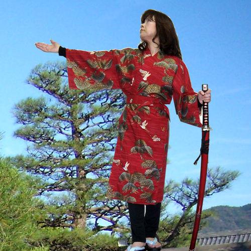 コットン ハッピーコート 松に鶴