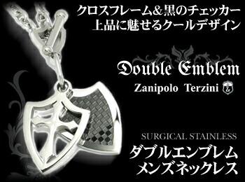 ZT/クロス&チェッカーエンブレムネックレス