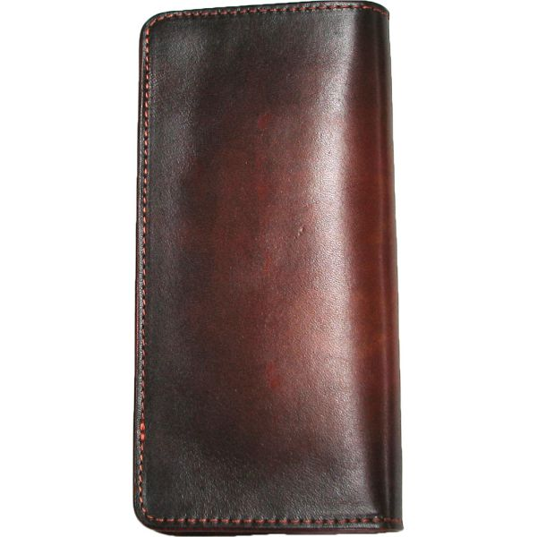 淡化长本牛皮钱包,并且是手工制作染色长钱包wl-271