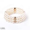 Rhinestone triple pearl bracelet breath bracelet invited Pearl blessed ladies Womens Dancewear Store Rakuten