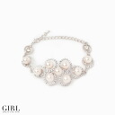 Mail order Rakuten for pretty pearl & rhinestone bracelet bracelet invite pearl breath red ladies Lady's women of the roundness