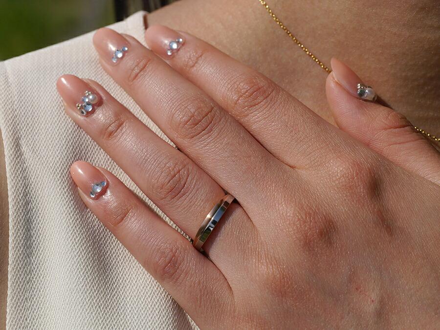 サージカルステンレスダイヤモンド クロスライン リング-3