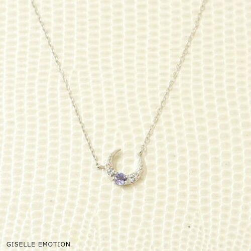 12月誕生石18金ネックレス 『タンザナイトダイヤモンド ムーンモチーフネックレス』-1