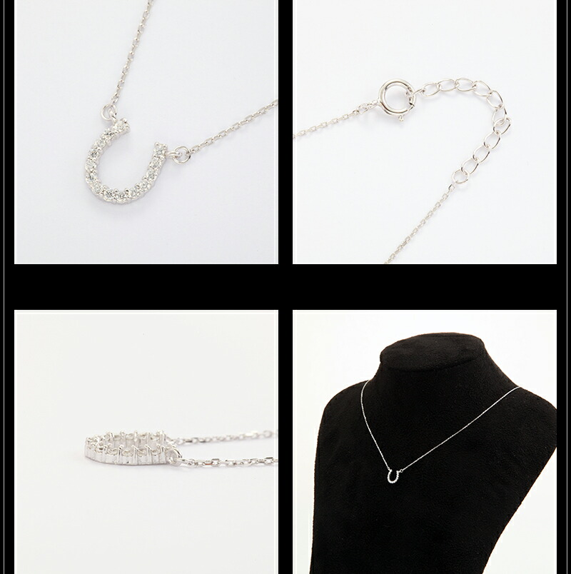 『天然ダイヤモンドローズ×馬蹄ネックレス・ピアスセット』-6