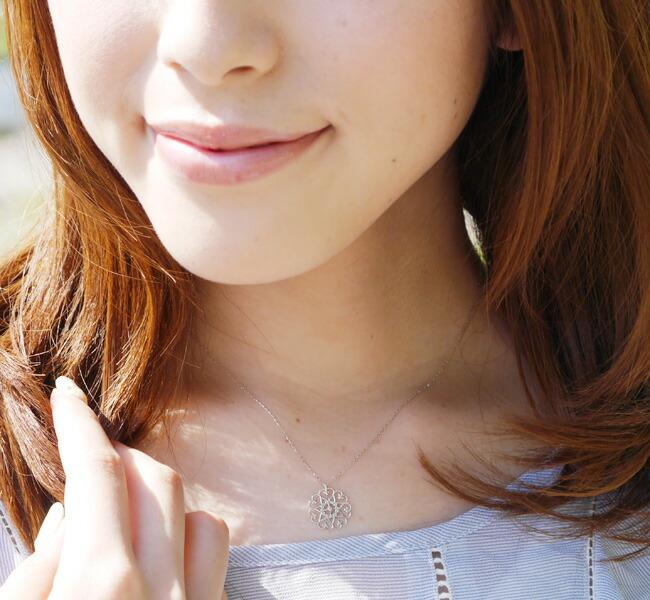 『天然ダイヤモンド0.01ct レースモチーフ10金ネックレス』-2