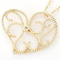 『天然ダイヤモンド0.01ct オープンハートモチーフ10金ネックレス』-8